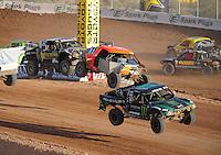 Dec. 11, 2011; Chandler, AZ, USA;  LOORRS pro 2 driver Jeremy McGrath (2) and Adrian Cenni (11) during the Lucas Oil Challenge Cup at Firebird International Raceway. Mandatory Credit: Mark J. Rebilas-