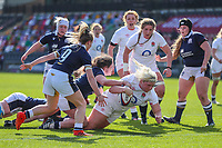 Bryony Cleall of England scores for England during the Guinness Six Nations match between England Women and Scotland Women at Castle Park Stadium, Doncaster, England on 3 April 2021. Photo by Thomas Gadd / PRiME Media Images.