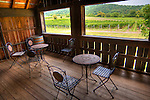 In back of the tasting room at Sharp Rock Vineyards, the second floor deck overlooks hills and vineyards.