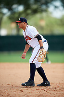 GCL Braves first baseman Ray Hernandez (46) during the first game of a doubleheader against the GCL Yankees West on July 30, 2018 at Champion Stadium in Kissimmee, Florida.  GCL Yankees West defeated GCL Braves 7-5.  (Mike Janes/Four Seam Images)