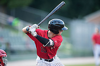 Mitch Roman (10) of the Kannapolis Intimidators at bat against the Hagerstown Suns at Kannapolis Intimidators Stadium on June 15, 2017 in Kannapolis, North Carolina.  The Intimidators defeated the Suns 9-1 in game two of a double-header.  (Brian Westerholt/Four Seam Images)