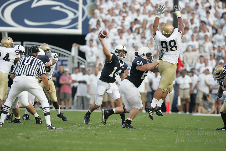 State College, PA -- 09/8/2007 -- Quarterback Anthony Morelli (14) attempts to pass over Notre Dame lineman Trevor Laws (98) early in the game against Notre Dame at Beaver Stadium.  Morelli was 12-22 for 131 yards, one touchdown, and one interception.  Penn State defeated Notre Dame by a score of 31-10 on Saturday, September 8, 2007.    ..Photo:  Joe Rokita / JoeRokita.com