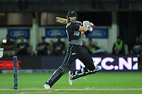 NZ's Martin Guptill bats during the second International T20 cricket match between the New Zealand Black Caps and Bangladesh at McLean Park in Napier, New Zealand on Tuesday, 30 March 2021. Photo: Dave Lintott / lintottphoto.co.nz