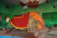 Hindu elephant god in shrine in India.