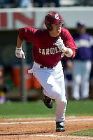 South Carolina center fielder Andrew Crisp (2) hustles down the first base line versus LSU at Sarge Frye Stadium in Columbia, SC, Thursday, March 18, 2007.