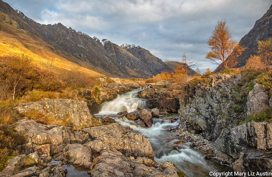 Glencoe, Scotland: Small falls on the river Coe in the Scottish highlands in late fall