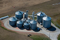 aerial photograph grain storage bins Iowa