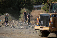 Pictured: Search officers at the second site in Kos, Greece. Monday 10 October 2016<br />Re: Police teams led by South Yorkshire Police are searching for missing toddler Ben Needham on the Greek island of Kos.<br />Ben, from Sheffield, was 21 months old when he disappeared on 24 July 1991 during a family holiday.<br />Digging has begun at a new site after a fresh line of inquiry suggested he could have been crushed by a digger.