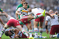 Danny Care of Harlequins sends up a box kick during the Premiership Rugby Round 1 match between London Irish and Harlequins at Twickenham Stadium on Saturday 6th September 2014 (Photo by Rob Munro)