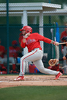 Philadelphia Phillies Juan Aparicio (4) during a minor league Spring Training game against the Pittsburgh Pirates on March 13, 2019 at Pirate City in Bradenton, Florida.  (Mike Janes/Four Seam Images)