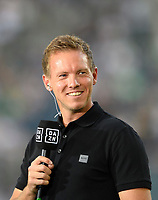 coach Julian NAGELSMANN (M) with DAZN Mikro, interview, Soccer 1. Bundesliga, 1st matchday, Borussia Monchengladbach (MG) - FC Bayern Munich (M), on August 13th, 2021 in Borussia Monchengladbach / Germany. #DFL regulations prohibit any use of photographs as image sequences and / or quasi-video # Â