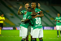 ARMENIA -COLOMBIA, 22-09-2020: Kevin Velazco de Deportivo Cali celebra después de anotar el primer gol de su equipo durante el partido entre Cúcuta Deportivo y Deportivo Cali por la fecha 9 de la Liga BetPlay DIMAYOR I 2020 jugado en el estadio Centenario de la ciudad de Armenia. / Kevin Velazco of Deportivo Cali celebrates after scoring the first goal of his team during match between Cucuta Deportivo  and Deportivo Cali for the date 9 BetPlay DIMAYOR League I 2020 played at Centenario stadium in Armenia city city. Photo: VizzorImage/ Ricardo Vejarano / Contribuidor