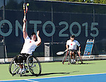Toronto, Ontario, August 12, 2015.Philippe Bedard and Joel Dembe compete in the Wheelchair tennis bronze medal game during the 2015 Parapan Am Games . Photo Scott Grant/Canadian Paralympic Committee