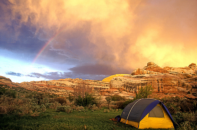 Tent and Rainbow, Canyonlands National Park, Utah