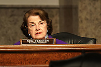 """United States Senator Dianne Feinstein (Democrat of California), Ranking Member, US Senate Judiciary Committee gives an opening statement during a Senate Judiciary Committee hearing to discuss the FBI's """"Crossfire Hurricane"""" investigation with former Deputy Attorney General Rod Rosenstein on Wednesday, June 3, 2020.<br /> Credit: Greg Nash / Pool via CNP/AdMedia"""