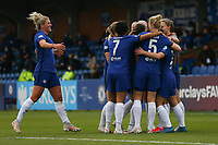2nd May 2021; Kingsmeadow, London, England;  Millie Bright of Chelsea joins the goal celebrations during the UEFA Womens Champions League Semi Final game between Chelsea and Bayern Munich at Kingsmeadow