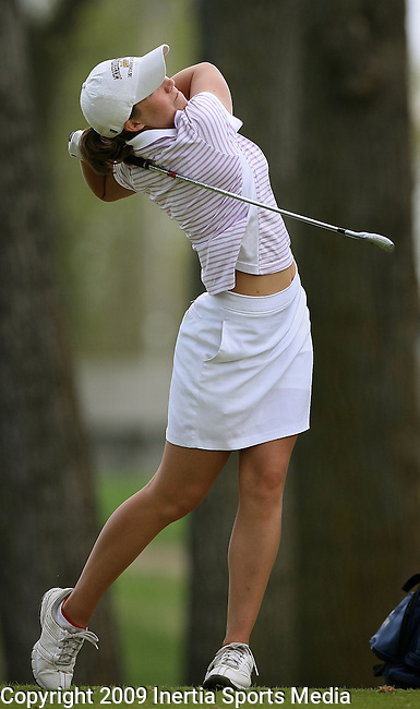 SIOUX FALLS, SD - MAY 6, 2009 :  Kassie Ellsworth of Minnesota State tees off on the 17th hole  at the 2009 NCAA Division II Super Regional Women's Golf Championships held at Westward Ho Country Club in Sioux Falls, S.D. (Photo by Dick Carlson/Inertia)