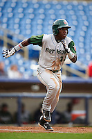 Fort Wayne TinCaps shortstop Ruddy Giron (12) runs to first during a game against the Lake County Captains on May 20, 2015 at Classic Park in Eastlake, Ohio.  Lake County defeated Fort Wayne 4-3.  (Mike Janes/Four Seam Images)
