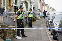 Pictured: Police at the area where a 22 year old woman was attacked in Carlton Terrace, Swansea, Wales, UK. Tuesday 23 April 2019<br /> Re: A 22 year old woman, named locally as Sammy Lee Lodwig, has died after being attacked Carlton Terrace in Swansea at 3:10am.<br /> South Wales Police said a woman had been seriously assaulted and subsequently died.<br /> Armed officers were deployed, along with the police helicopter, and a number of cordons remain in place while officers carry out an investigation.