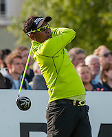 21.05.2015. Wentworth, England. BMW PGA Golf Championship. Round 1.  Thongchai Jaidee [THI] on the first tee. The first round of the 2015 BMW PGA Championship from The West Course Wentworth Golf Club