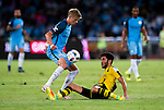 Manchester City striker Alex Zinchenko (l) trips up with Borussia Dortmund midfielder Nuri Sahin (r) during the 2016 International Champions Cup China match at the Shenzhen Stadium on 28 July 2016 in Shenzhen, China. Photo by Marcio Machado / Power Sport Images