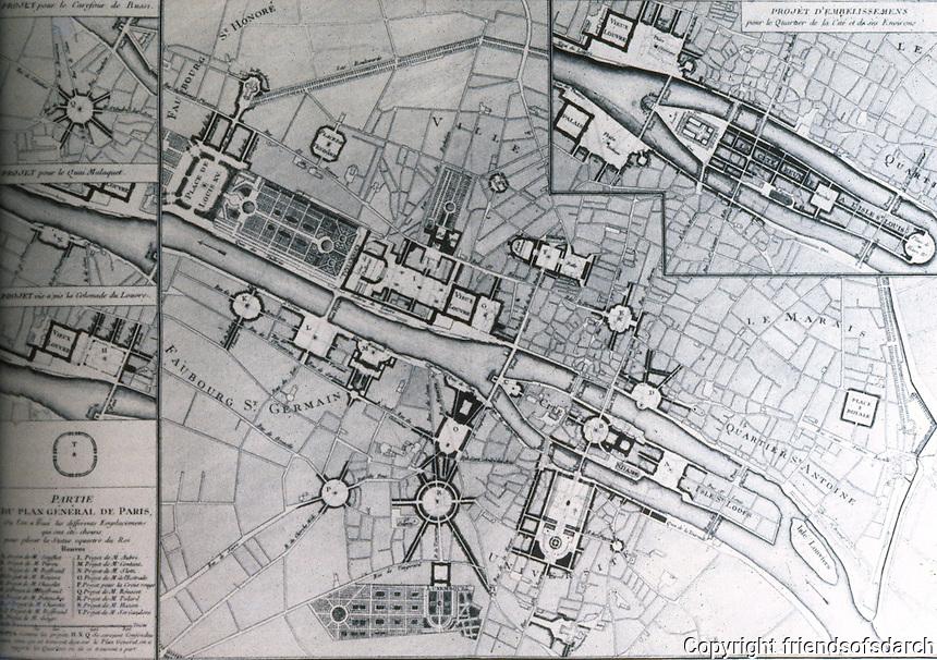 Paris: Plan of Paris--proposed squares, 1765. REPS, MONUMENTAL WASHINGTON, FIG. 5. Reference only.