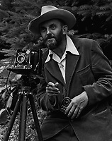 A photo portrait of photographer Ansel Adams, which first appeared in the 1950 Yosemite Field School yearbook