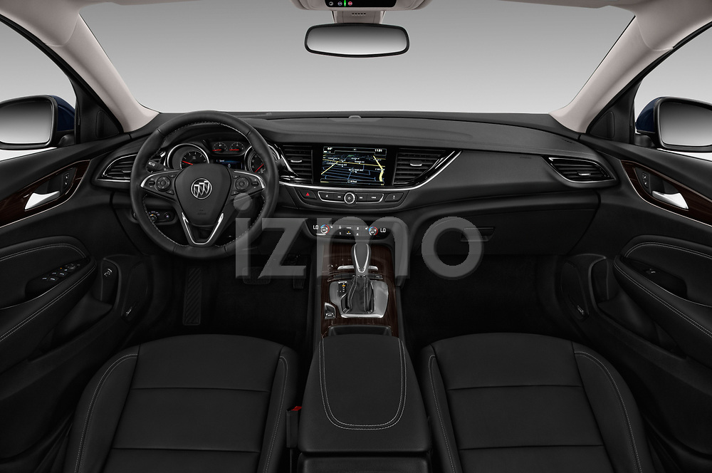 Stock photo of straight dashboard view of a 2018 Buick Regal TourX Essence AWD 5 Door Wagon
