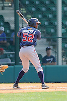 Outfielder Fernelys Sanchez (52) of the Atlanta Braves farm system in a Minor League Spring Training intrasquad game on Wednesday, March 18, 2015, at the ESPN Wide World of Sports Complex in Lake Buena Vista, Florida. (Tom Priddy/Four Seam Images)