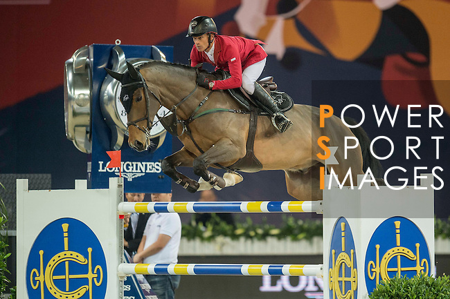 Pius Scwhizer of Switzerland riding Leonard de la Ferme CH during the Hong Kong Jockey Club Trophy competition, part of the Longines Masters of Hong Kong on 10 February 2017 at the Asia World Expo in Hong Kong, China. Photo by Juan Serrano / Power Sport Images