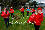 The students and staff of the Presentation Secondary School in Tralee ready to do their 5k fundraiser walk for the Irish Heart Foundation at the school on Friday.<br /> Front right: Chrissy Kelly (Principal).<br /> Back l to r: Marion Cronin (TY Co-Ordinator), students Grace McLoughlin, Alice O'Connor, Miriam Goubran and Amy McCarthy.