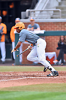 Tennessee Volunteers left fielder Zach Daniels (5) lays down a bunt during a game against the University of North Carolina Greensboro (UNCG) Spartans at Lindsey Nelson Stadium on February 24, 2018 in Knoxville, Tennessee. The Volunteers defeated Spartans 11-4. (Tony Farlow/Four Seam Images)