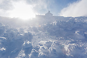 Appalachian Trail - Lakes of the Clouds Hut in extreme weather conditions along Crawford Path in the Presidential Range in the White Mountains, New Hampshire USA.