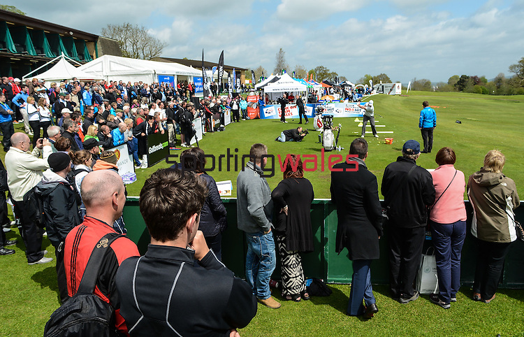 The Crowds look on as big hitter Joe Miller hits one of his drives ..Celebrity Cup at Golf Live  - Celtic Manor Resort - Friday 10th  May  2013 - Newport ..© www.sportingwales.com- PLEASE CREDIT IAN COOK