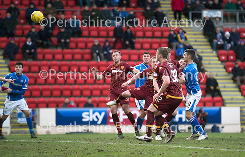 St Johnstone v Motherwell…20.02.16   SPFL   McDiarmid Park, Perth<br />Tam Scobbie scores the winning goal<br />Picture by Graeme Hart.<br />Copyright Perthshire Picture Agency<br />Tel: 01738 623350  Mobile: 07990 594431