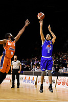 Troy McLean of the Wellington Saints shoots the ball during the round two NBL match between the Wellington Saints and the Southland Sharks at TSB Bank Arena, Wellington, New Zealand on Friday 7 May 2021.<br /> Photo by Masanori Udagawa. <br /> www.photowellington.photoshelter.com