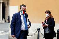 The Senator Matteo Salvini out of the Senate during the vote of confidence in the new Government. Rome (Italy), February 17th 2021<br /> Photo Samantha Zucchi Insidefoto