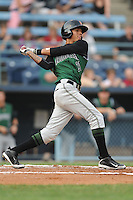 Augusta GreenJackets Ehire Adrianza #21 swings at a pitch during a game against the Asheville Tourists at McCormick Field in Asheville,  North Carolina;  June 1, 2011.  The GreenJackets won the game 13-6.  Photo By Tony Farlow/Four Seam Images