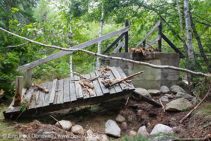 In 2011, high waters from Tropical Storm Irene damaged the Thoreau Falls Trail bridge in the Pemigewasset Wilderness of New Hampshire. This is how the ramp to the bridge looked just days after Irene.