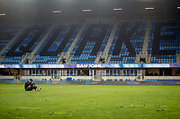 SAN JOSE, CA - NOVEMBER 4: Chris Wondolowski #8 of the San Jose Earthquakes sits on the field before a game between Los Angeles FC and San Jose Earthquakes at Earthquakes Stadium on November 4, 2020 in San Jose, California.