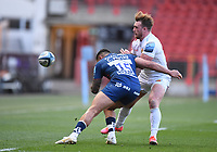 23rd April 2021; Ashton Gate Stadium, Bristol, England; Premiership Rugby Union, Bristol Bears versus Exeter Chiefs; Jacques Vermeulen of Exeter Chiefs offloads from the tackle from Sam Bedlow of Bristol Bears