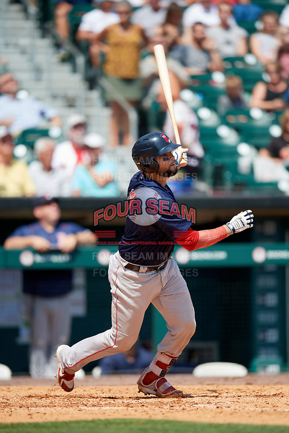 Pawtucket Red Sox catcher Oscar Hernandez (7) pops out during a game against the Buffalo Bisons on June 28, 2018 at Coca-Cola Field in Buffalo, New York.  Buffalo defeated Pawtucket 8-1.  (Mike Janes/Four Seam Images)