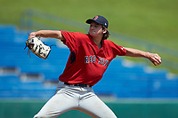 Pierce Coppola (22) of Verona HS in Verona, NJ playing for the Boston Red Sox scout team during the East Coast Pro Showcase at the Hoover Met Complex on August 5, 2020 in Hoover, AL. (Brian Westerholt/Four Seam Images)