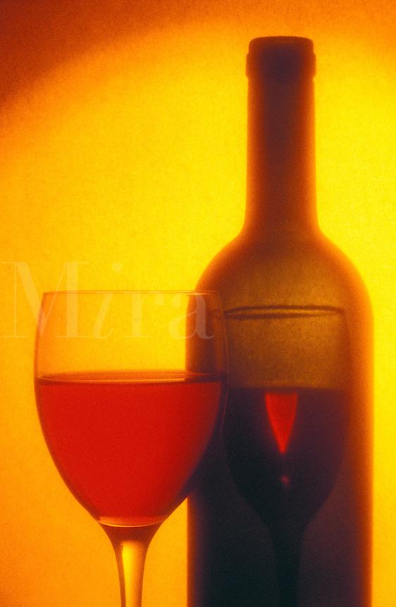 wine glass and wine bottl