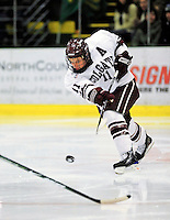 2 January 2009: Colgate Raiders' forward Tom Riley, a Senior from Ottawa, Ontario, in action against the University of Vermont Catamounts during the second game of the 2009 Catamount Cup Ice Hockey Tournament hosted by the University of Vermont at Gutterson Fieldhouse in Burlington, Vermont. The Catamounts defeated the Raiders 6-4 to move onto the championship game against the St. Lawrence Saints...Mandatory Photo Credit: Ed Wolfstein Photo