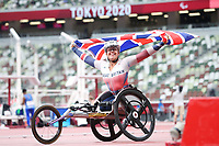29th August 2021; Tokyo, Japan; Hannah Cockroft (GBR), <br /> Athletics : Women's 100m T34 Final <br /> during the Tokyo 2020 Paralympic Games at the National Stadium in Tokyo, Japan.