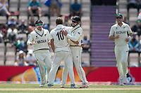 Team mates rush to congratulate Neil Wagner, New Zealand following the dismissal of Ravindra Jadeja, India during India vs New Zealand, ICC World Test Championship Final Cricket at The Hampshire Bowl on 23rd June 2021