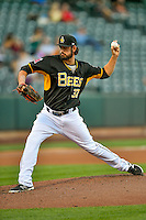 Tyler DeLoach (37) of the Salt Lake Bees delivers a pitch to the plate against the Las Vegas 51s in Pacific Coast League action at Smith's Ballpark on June 19, 2016 in Salt Lake City, Utah. The 51s defeated the Bees 8-1. (Stephen Smith/Four Seam Images)