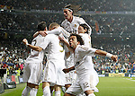 Real Madrid's Marcelo. Sergio Ramos, Mesut Özil and Karim Benzema celebrate with other players during La Liga Match. December 10, 2011. (ALTERPHOTOS/Alvaro Hernandez)