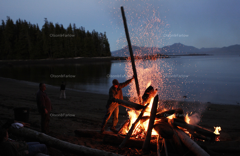 Jason Clowar, his family and friends gathered for food, a bonfire and an informal party on Sandy Beach north of Thorne Bay on Prince of Wales Island.